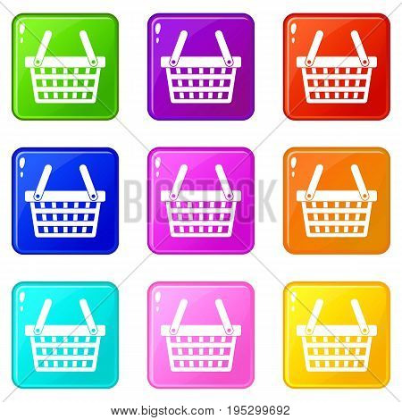 Shopping basket icons of 9 color set isolated vector illustration