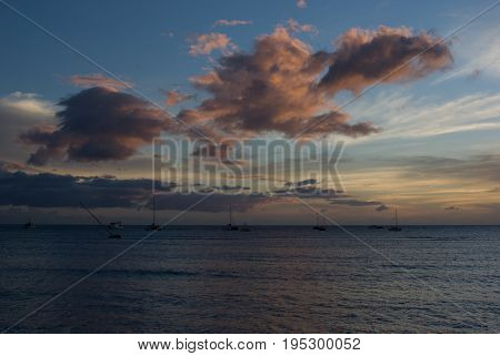 View of Tropical Sunset over beach in Maui Hawaii