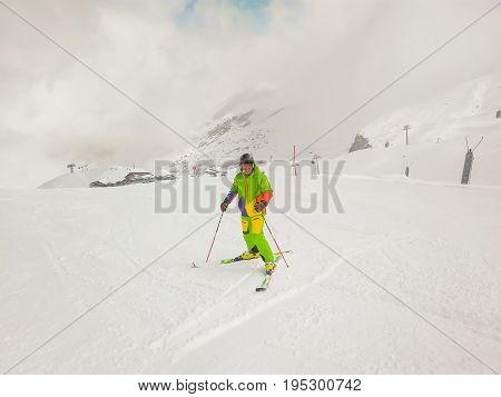 Happy Romanian Skier Man On The Slope In HinterTux Austria