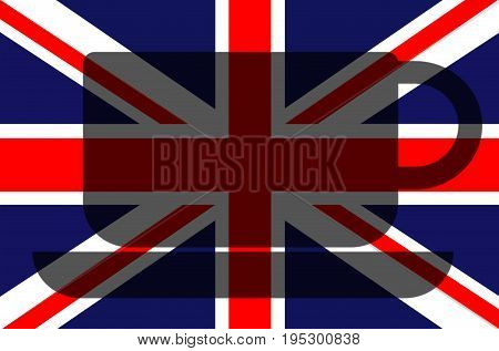 British concept. Union Jack flag. There is a shadow at the center with a shape of a cup of tea