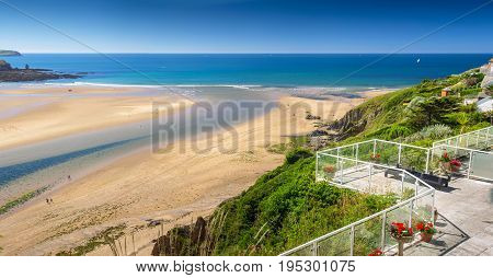 Strait between the Burgh Island and bigbury-on-sea at low tide. View from the cozy balcony. Devon. England