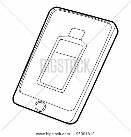 Gadget charging battery icon. Outline illustration of gadget charging battery vector icon for web design