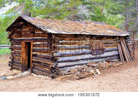 Historic log cabin surrounded by a pine forest taken in the Sierra Nevada Mountains, CA