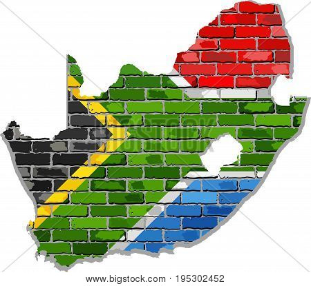 South Africa map on a brick wall - Illustration,   South Africa map with flag inside