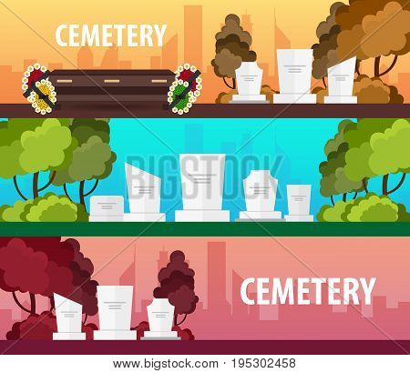 Set Of Funeral Sevices And Funeral Agency Banners. Cemetery. Vector Illustration.