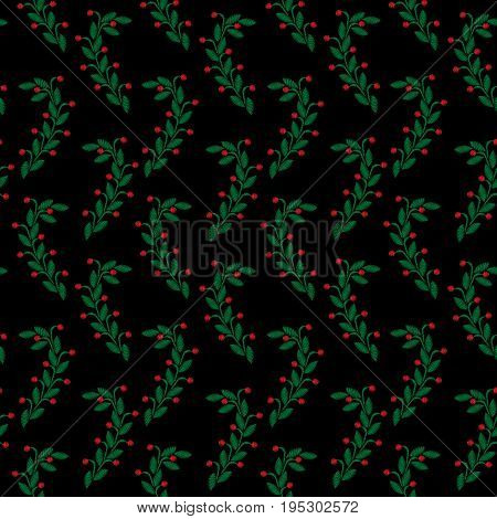 Embroidery stitches imitation seamless pattern with little green leaf and red berry. Vector embroidery folk fashion ornament on black background.