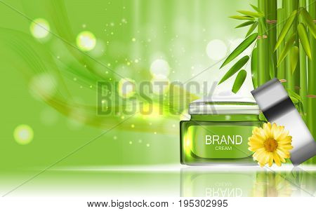 Face Cream Bottle Design Cosmetics Product Bottle with Flowers Chamomile Template for Ads, Announcement Sale, Promotion New Product or Magazine Background. 3D Realistic Vector Iillustration. EPS10