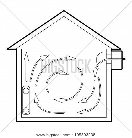 Ventilated home icon. Outline illustration of ventilated home vector icon for web design