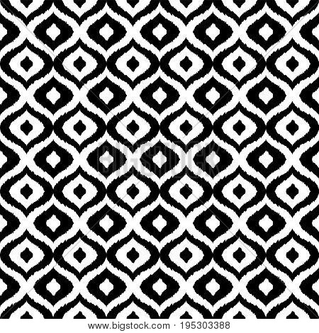 Black and white tribal vector seamless pattern. Hand drawn abstract background. Classic textile design, animalistic motif. Vector illustration
