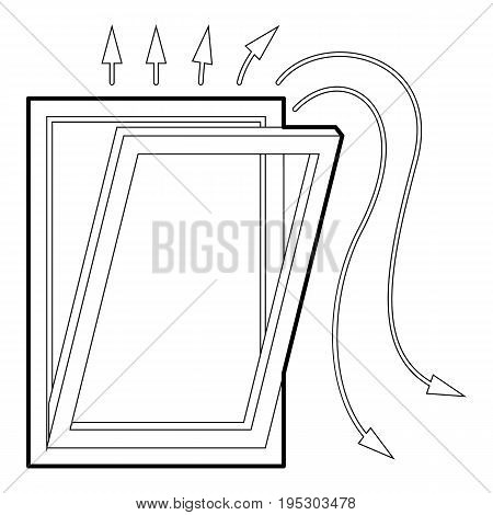 Window ventilation icon. Outline illustration of window ventilation vector icon for web design