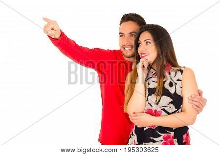 Full portrait of happy couple isolated on white background.