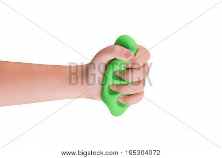 Games mucus in child's hands on a white background
