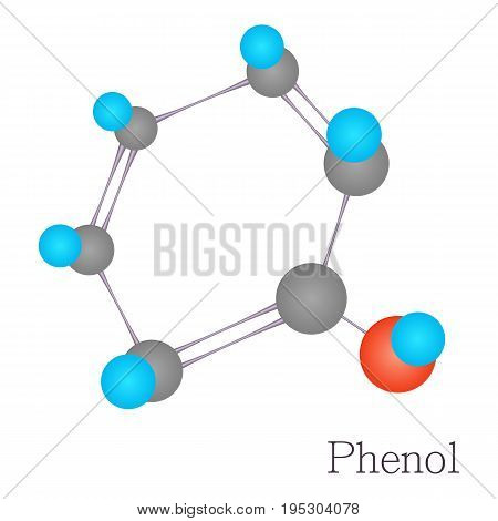 Phenol 3D molecule. Cartoon illustration of phenol 3D molecule vector for web design