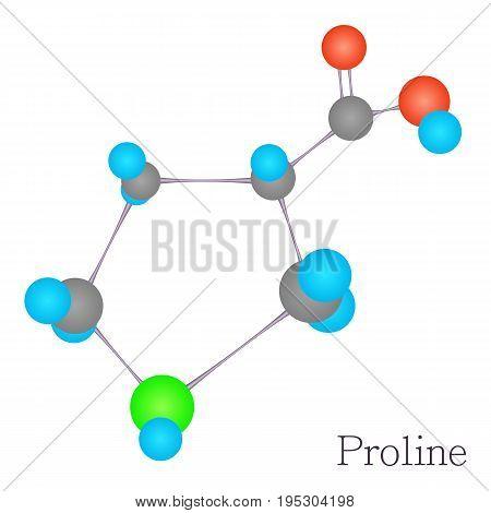 Proline 3D molecule. Cartoon illustration of proline 3D molecule vector for web design