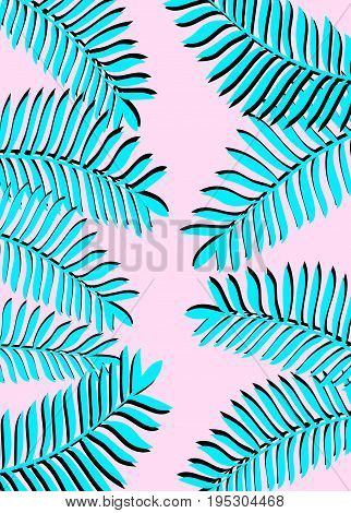 Tropical Palm Leaves. Vertical Banner. Exotic Tropical Jungle Tropical Forest Palm Leaves Border Fra