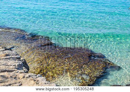 Blue sea and stony shore. Cyprus. Ayia Napa