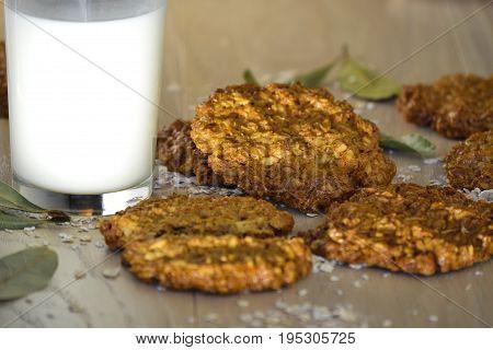 Fresh oatmeal cookies with milk Fresh oatmeal cookies with milk