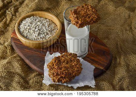 Fresh oatmeal cookies with milk Fresh oatmeal