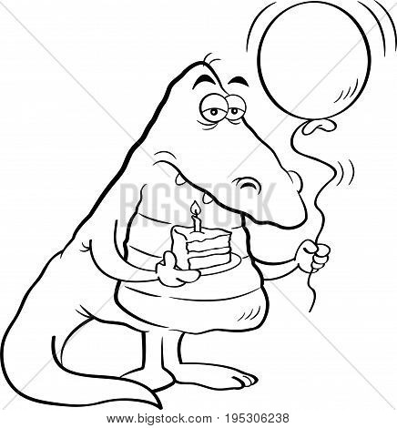 Black and white illustration of an alligator holding a piece of cake and a balloon.
