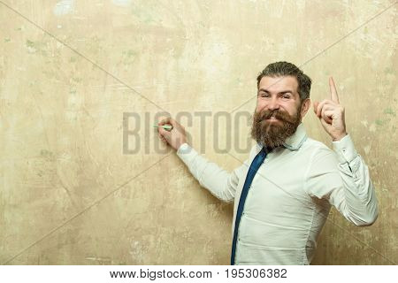 Hipster Man With Beard On Happy Face Write With Chalk