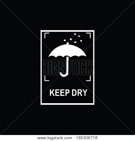 Packaging symbols (Keep dry icon). Fragile cardboard black signs isolated on a black background. Stock vector illustration