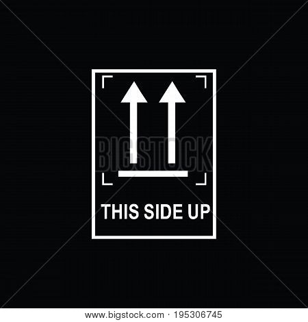 Packaging symbols (This side up icon). Fragile cardboard black signs isolated on a black background. Stock vector illustration