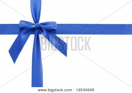 blue gift bow isolated on white