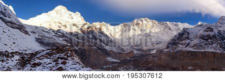 Morning panoramic view of Mount Annapurna from Annapurna south base camp Nepal