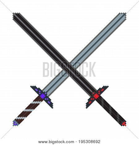 Pixel composition of two crossed big swords. Can be used as an illustration to achieve the game or as a symbol of battle