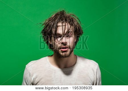 Sleepy Man With Wet Head, Face And Hair In Morning