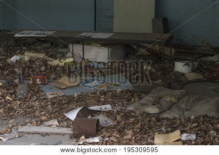 PRIPUAT, UKRAINE - JUNE 25: Abandoned School Classroom in Ghost City of Pripyat in Chernobyl Exclusion Zone