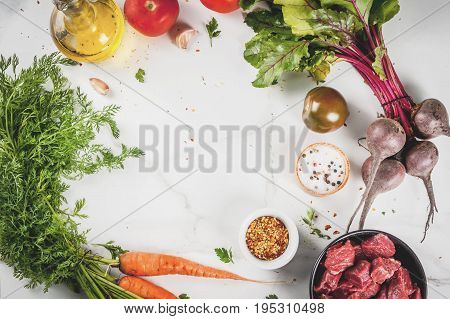 Raw Beef Goulash With Spices And Vegetables