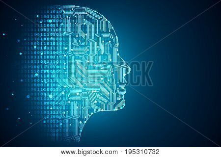 Artificial intelligence. Human head outline with circuit board inside. Technology and engineering concept. 3D Rendering