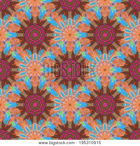 Vector Mandala. Tiled mandala design best for print fabric or papper and more. Background. Boho style flower seamless pattern.