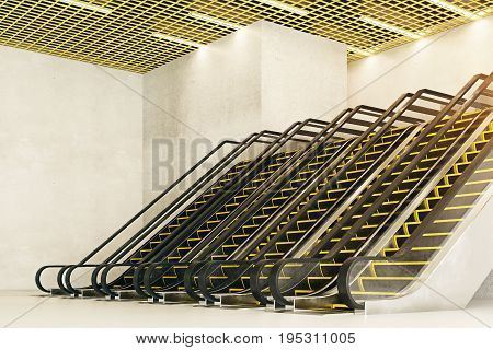Side view of six new escalators in concrete interior with creative ceiling. Modern shopping center concept. 3D Rendering