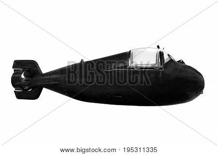 Mini submarine for special diversion operations isolated on white background
