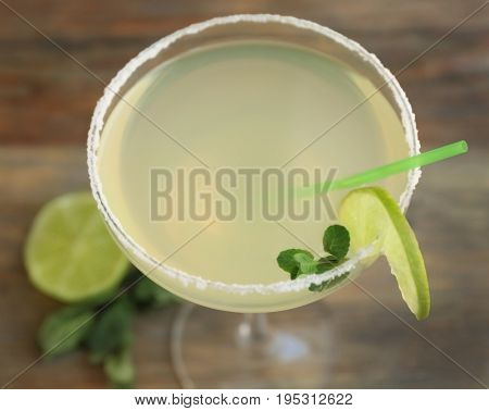 Delicious cocktail with tequila, closeup