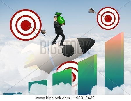 Abstract image of buisnessman with money bag standing on launching space ship with targets and bars on sky background. Startup and targeting concept. 3D Rendering