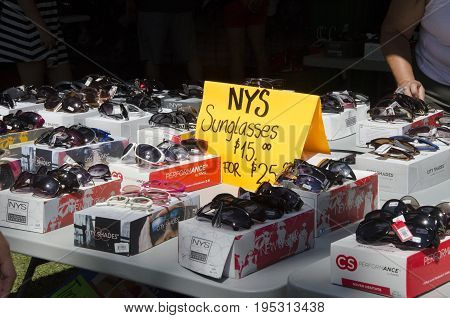 London Ontario, Canada - July 10, 2016: Sunglasses With Tag Abd Offer Sell At The Stall In The Park