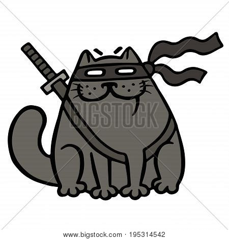 Cartoon fat ninja cat in a mask and a sword. Funny cool warrior character. Isolated vector illustration.