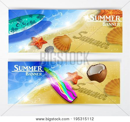 colorful beach floating surfing boards and water top view banner set vector illustration