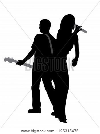 Woman singer and man guitar player. Isolated white background. EPS file available.