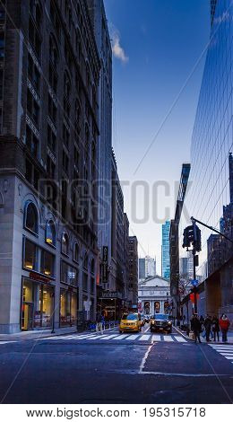 NEW YORK NY - December 03 2016: detail of Mahnattan's streets and skyscapers at blue hour