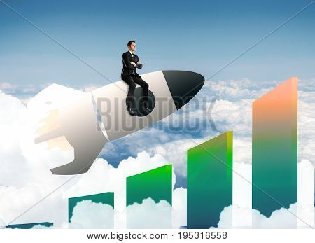 Abstract image of buisnessman sitting on launching space ship with targets and bars on sky background. Startup concept. 3D Rendering