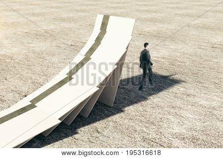 White credit cards falling onto thoughtful businessman. Crisis concept. 3D Rendering