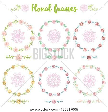 Floral frame collection set of cute retro flowers arranged un a shape of the wreath perfect