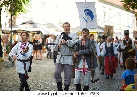 Vilnius - May 28: Festival Of Folk Music And Dance On Pilies Street In Vilnius, Lithuania On May 28,