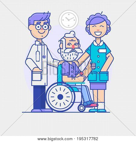Doctor and young woman social worker strolling with elder man in wheelchair. linear poster isolated on white background. Vector illustration
