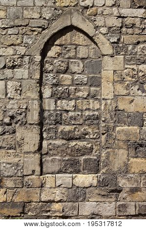 medieval stone arch of York city walls