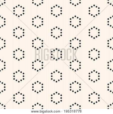 Hexagon pattern. Vector minimalist seamless pattern, simple monochrome geometric texture with small hexagons in hexagonal grid, repeat tiles. Abstract minimalistic background. Subtle design for decor, covers, banners. Hexagon background.